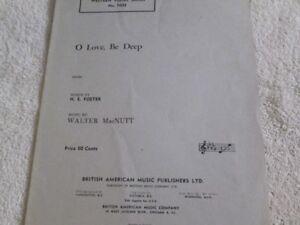 Vintage Piano Sheet Music - O Love, Be Deep - 1949
