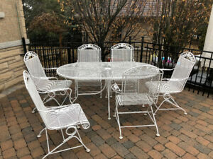 Classic White wrought iron Patio Dining Set - seats 6