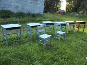 Antique childs school desks