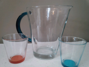 Glass pitcher with 2 glasses