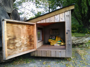 Dog house , pet house, chicken coop.