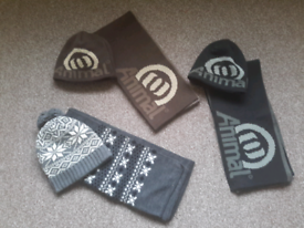 Animal mens hat and scarf sets, bobble hat set, £5 each