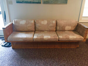 Vintage Wicker Sofa - Newly Upholstered
