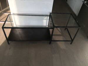 IKEA VITTSJÖ Nesting tables, set of 2, black-brown, glass