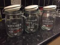 3 storage glass jars