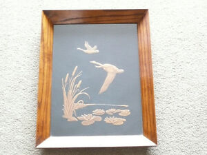 Copper Bas Relief Art - Geese Flying over a Marsh