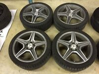 C63 AMG RIMS WITH WINTER TIRES FOR SALE. EXCELLENT