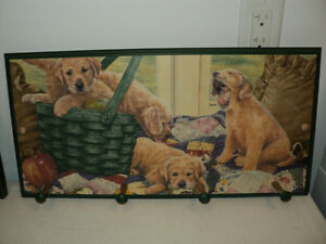 "Puppies Dogs Coat Rack - Country Charm and is LIKE NEW 11"" X 22"""