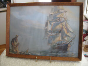 INTERESTING OLD VINTAGE FRAMED NAUTICAL PRINT