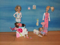 Dr. Barbie in her medical office with patients (included)