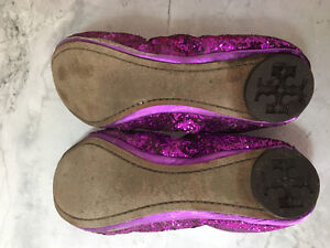 7.5 Used Tory Burch Purple Eddie Glitter Flats (Wedding) Strathcona County Edmonton Area image 4