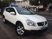 Nissan Qashqai, White, Pan Roof, 1 owner from new, FSH, Manual, 2 keys, long MOT, HPI clear.