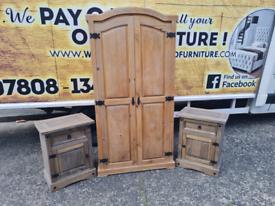 Mexican pine wardrobe £85+ 2 locking lockers £30 each