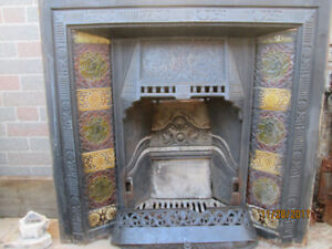 Antique Victorian Tiled Fireplace Surrounds & Screen