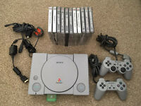 Retro Sony PlayStation 1 With 11 Games Etc