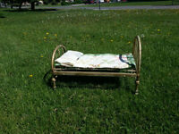 Vintage Brass Mini Bed on wheels, for your dog, cat or doll