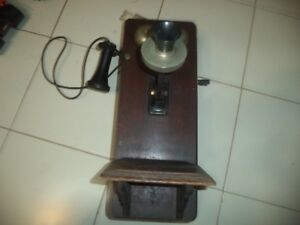 Antique Oak Wall Phone- Working Condition