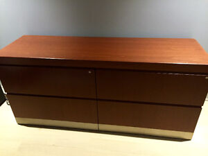 Knoll Cherry Wood Filing Cabinet