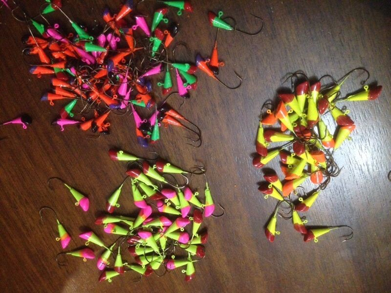 50 Pack Variety Painted Shad Dart Jigs 1/16oz,1/8oz Fishing