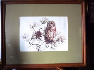 "Hand Signed and Numbered Lithograph by Peter Miehm ""Owl"" 1980"