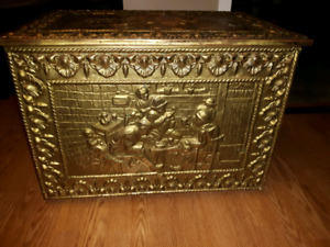 *REDUCED* ANTIQUE Brass Firewood Box