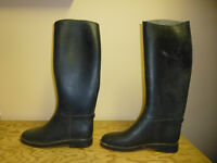 black rubber English riding boots