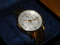 Mens Gold Plated Chronograph Watch
