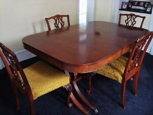 Antique Dining Set including 3 table inserts, 6 chairs and hutch