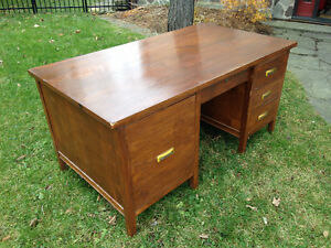 Vintage Antique Bankers Desk - Metal inset handles, very rare Cambridge Kitchener Area image 2