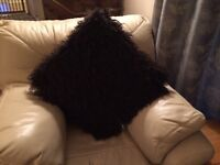 2 large shaggy brown suede backed cushions