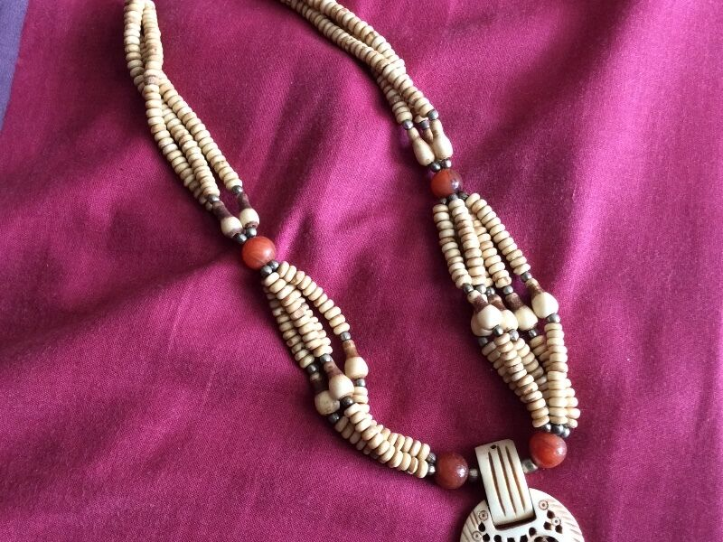 New Vintage Multi-Strand Beaded Tribal Bohemian Cream Necklace