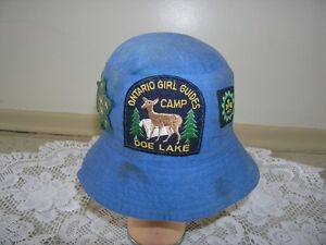 VINTAGE GIRL GUIDE HAT WITH VINTAGE PATCHES