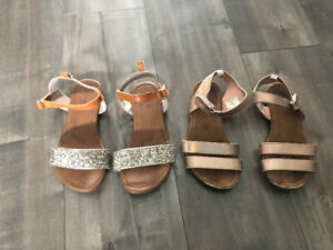 Girls Joe sparkly sandals - 2 pairs size 11 and size 12