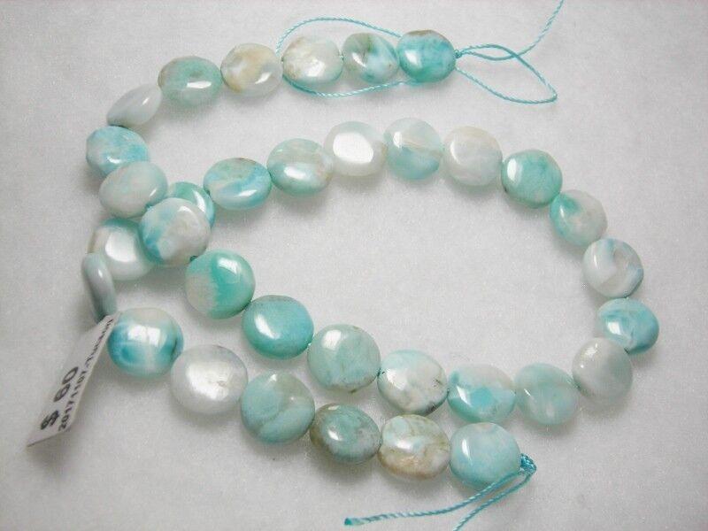 Larimar.....12 mm coin...34 beads....16 inches Sky Blue Larimar Gemstones,