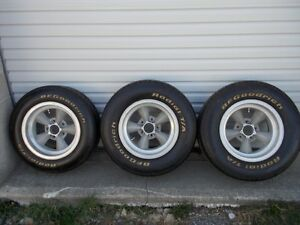set of 4 vintage Torque Thrust wheels and tires