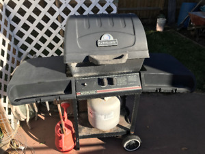 BBQ and all tools plus 2 long lawn chairs