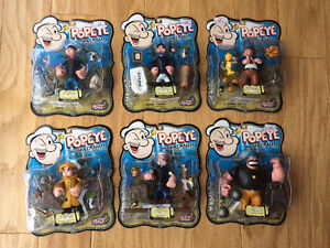 """Popeye"" Action Figures (6) - never opened - Mezco 2001 - RARE"