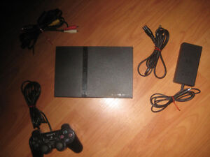 Playstation 2 slim, cords and controller
