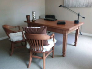 Office furniture Antique desk, cabinet and 2 chairs