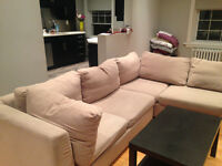 Beige Sectional With Storage and Bed