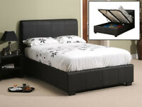 Leather bed, ottoman, with storage, spring, Mattress, Double. Lift up bed, storage bed,