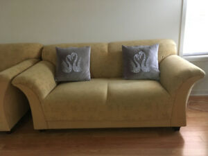 Mustard Coloured Fabric Sofa Set