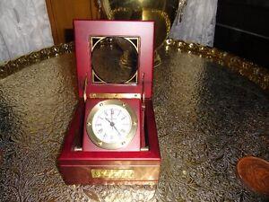 BEY-BERK BRASS CLOCK IN MAHOGANY BOX