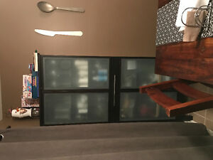 IKEA frosted glass kitchen cabinet