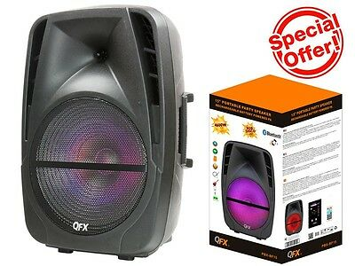 "QFX PBX-BF15 15"" Rechargeable Party Speaker +Bluetooth+USB/TF/FM+RGB Disco Light for sale  Shipping to Nigeria"