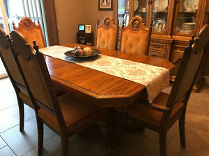 Solid wood formal dining table , chair and hutch