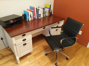 Beautiful wooden desk and metallic desk chair - collection only