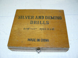 """Set of Silver & Deming Drill bits 9/16 - 1"""" (8 in wooden case)"""