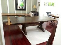 Antiqued rustic custom cabinets harvest tables  barnboard