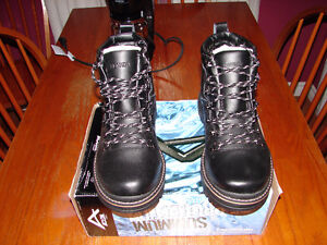 Men's Black Leather Hiking Style Lined Winter Boots